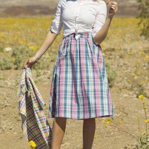 Shabby Apple Abigail pink blue plaid midi skirt 12